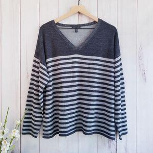 Eileen Fisher Merino Wool Striped V-neck Sweater L
